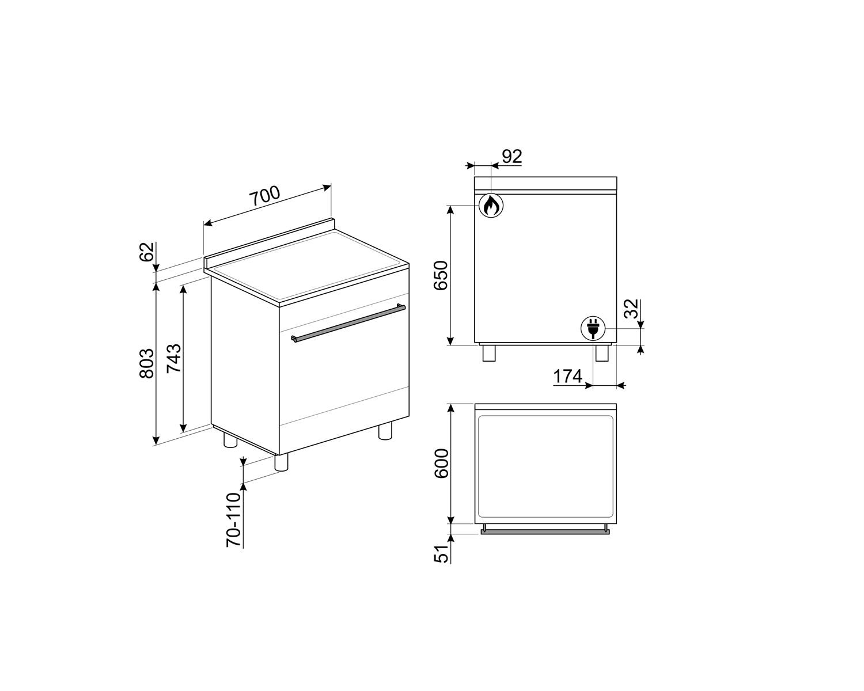 Maattekening SMEG fornuis rvs C7GMXNLK9