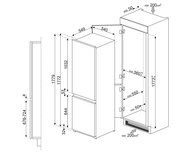 Maattekening SMEG koelkast inbouw C8173N1F
