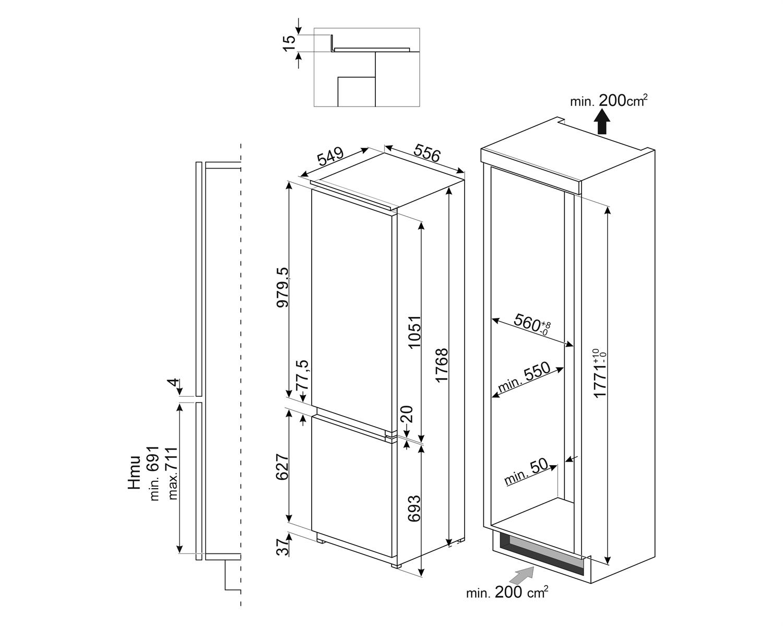 Maattekening SMEG koelkast inbouw C8174DN2E