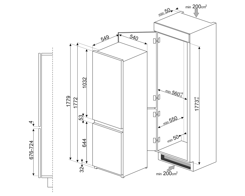 Maattekening SMEG koelkast inbouw C8174N3E