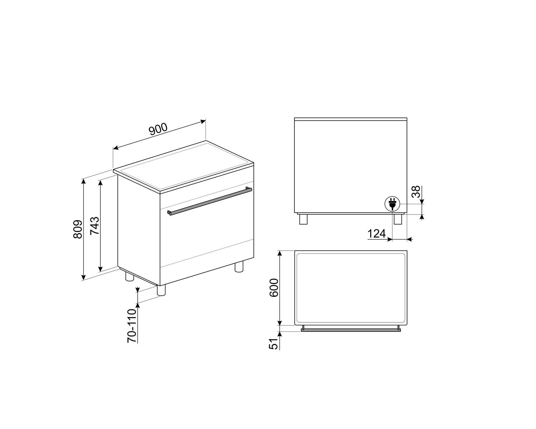 Maattekening SMEG fornuis inductie volledig antraciet C91IEA9