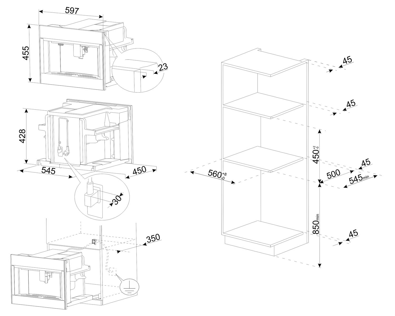 Maattekening SMEG koffiemachine inbouw CMS4303X