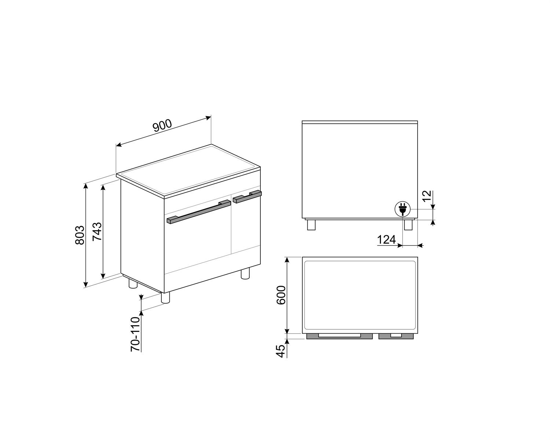 Maattekening SMEG fornuis inductie wit CPF92IMWH
