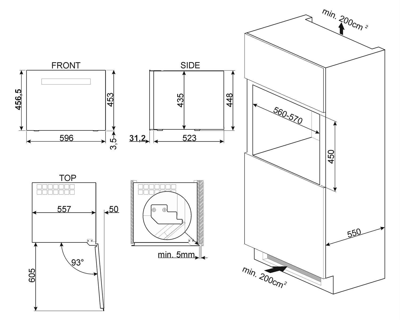 Maattekening SMEG wijnkoelkast inbouw CVI121N3