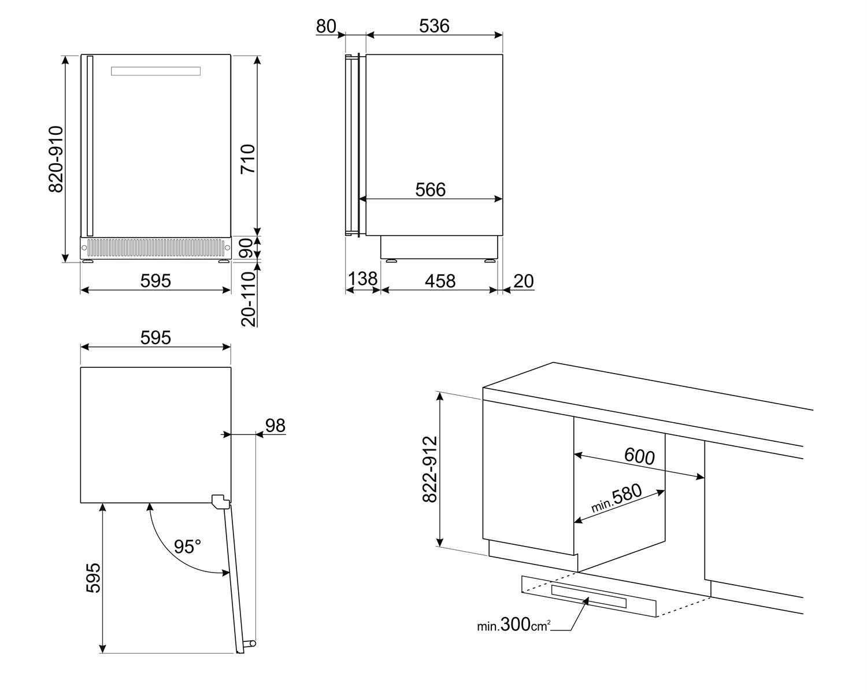 Maattekening SMEG wijnkoelkast onderbouw CVI338RX3