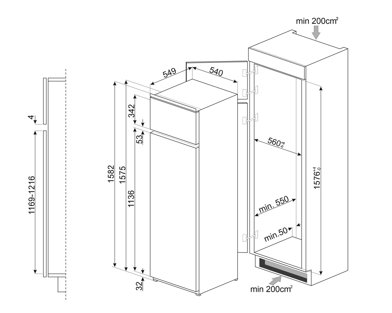 Maattekening SMEG koelkast inbouw D4152F
