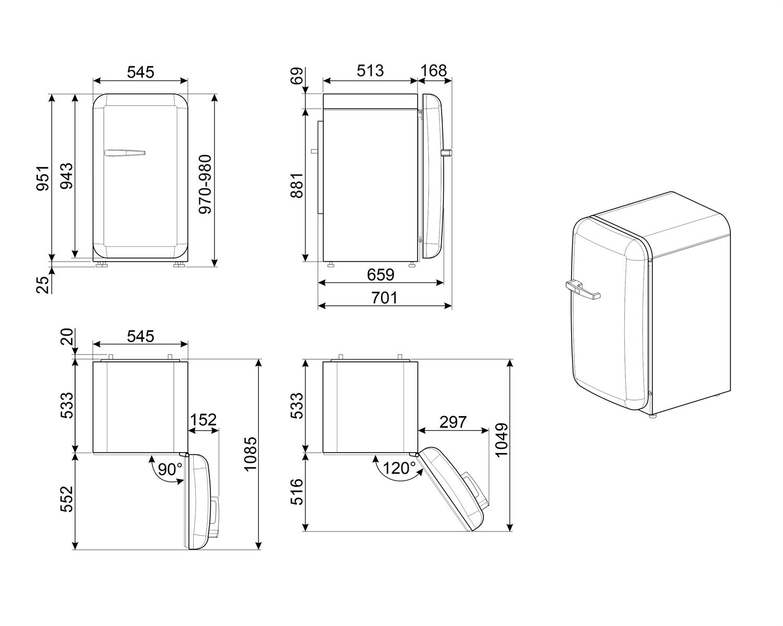 Maattekening SMEG koelkast tafelmodel pastelblauw FAB10HRPB5