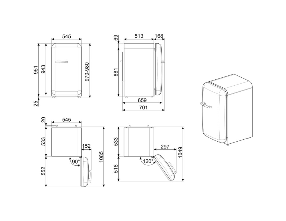 Maattekening SMEG koelkast tafelmodel watergroen FAB10HRPG5