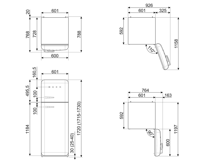 Maattekening SMEG koelkast zilver metallic FAB30RSV5