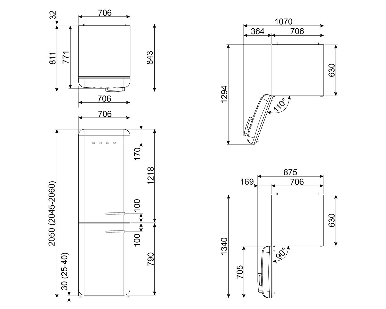 Maattekening SMEG koelkast creme FAB38LCR5