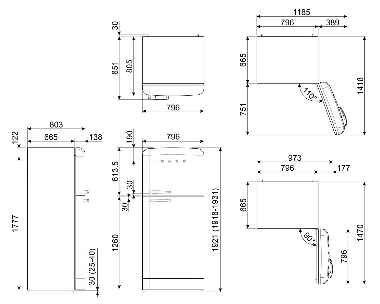 Maattekening SMEG koelkast wit FAB50RWH5
