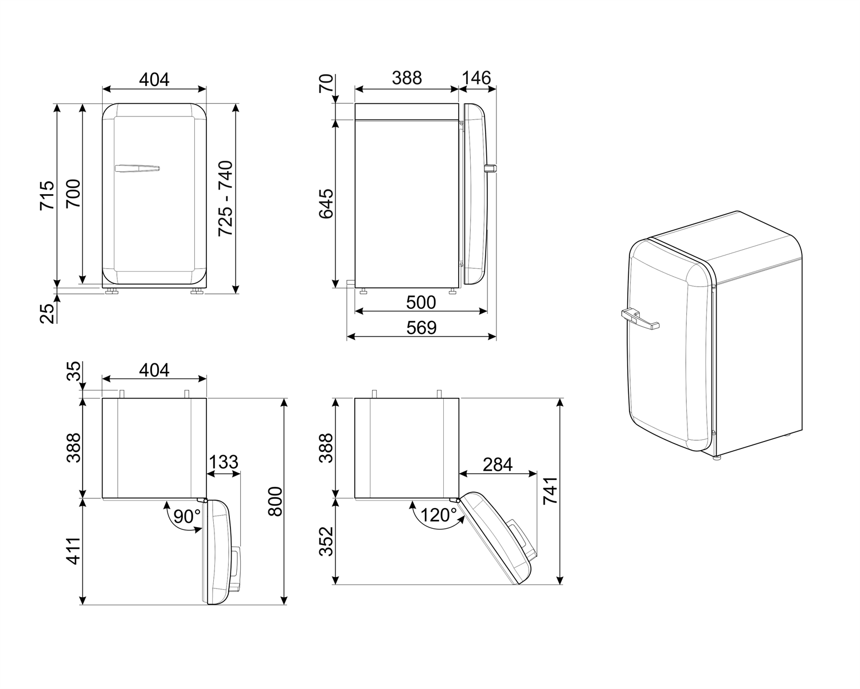 Maattekening SMEG koelkast zwart FAB5RBL5