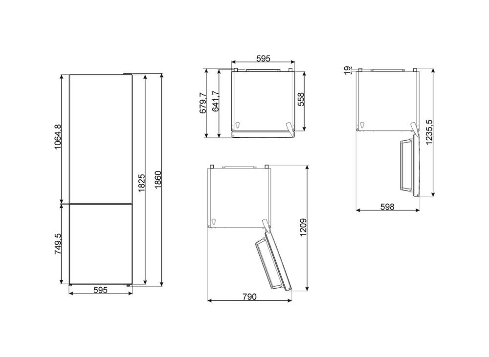 Maattekening SMEG koelkast rvs-look FC18DN4AX