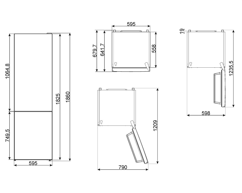 Maattekening SMEG koelkast rvs FC18EN4AX