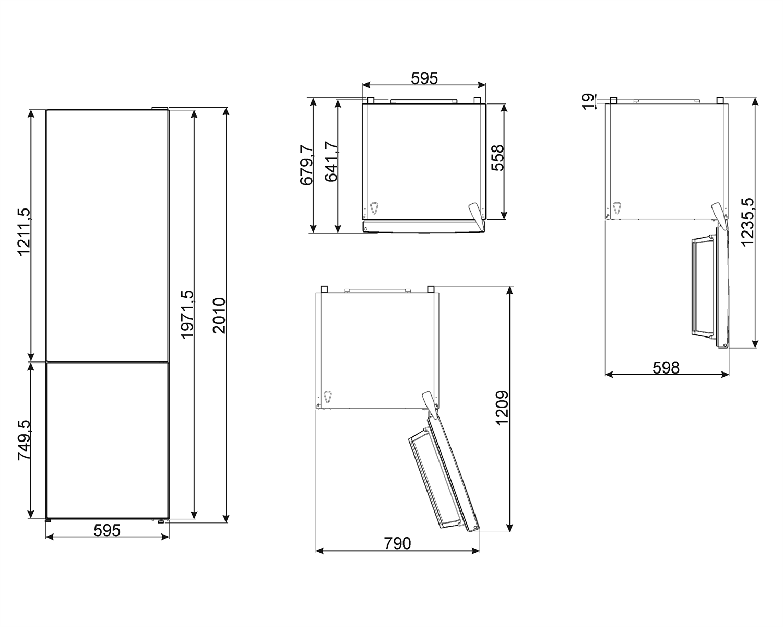 Maattekening SMEG koelkast rvs FC20DN4AX