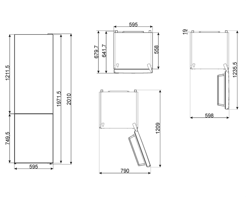 Maattekening SMEG koelkast rvs FC20EN4AX