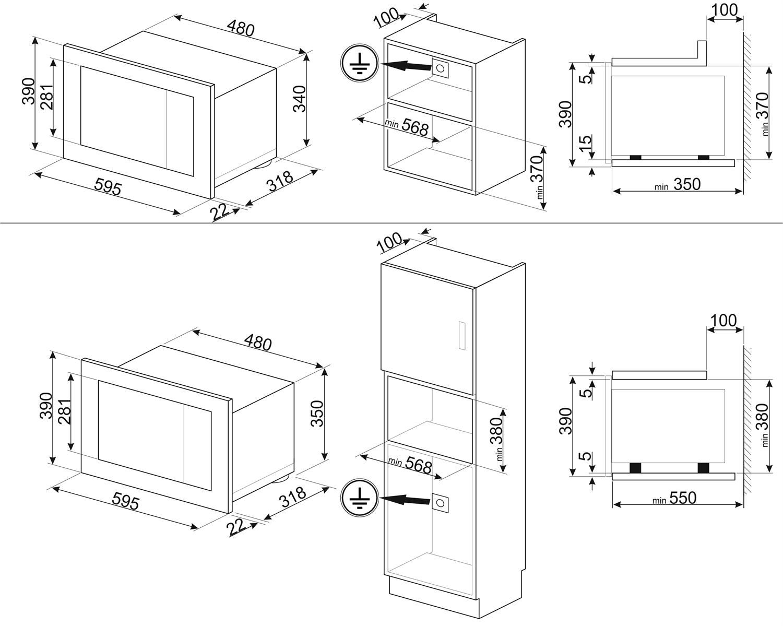 Maattekening SMEG magnetron met grill wit FMI120B1