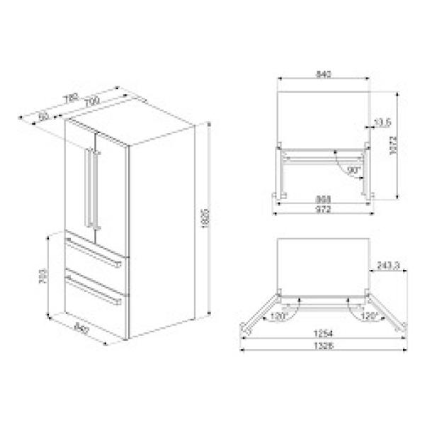 Maattekening SMEG side-by-side koelkast zwart FQ55FNDF