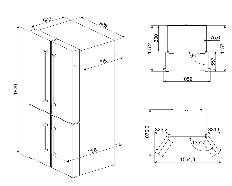 Maattekening SMEG side-by-side koelkast wit FQ60BDF