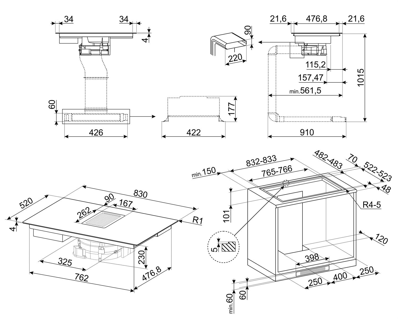 Maattekening SMEG inductie kookplaat met afzuiging inbouw HOBD682D1