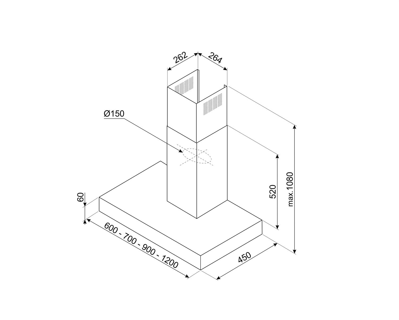 Maattekening SMEG afzuigkap wand antraciet KBT900NE
