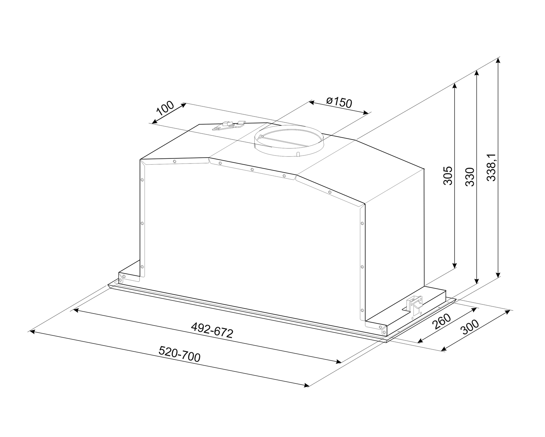 Maattekening SMEG afzuigkap inbouw rvs KICGR70X