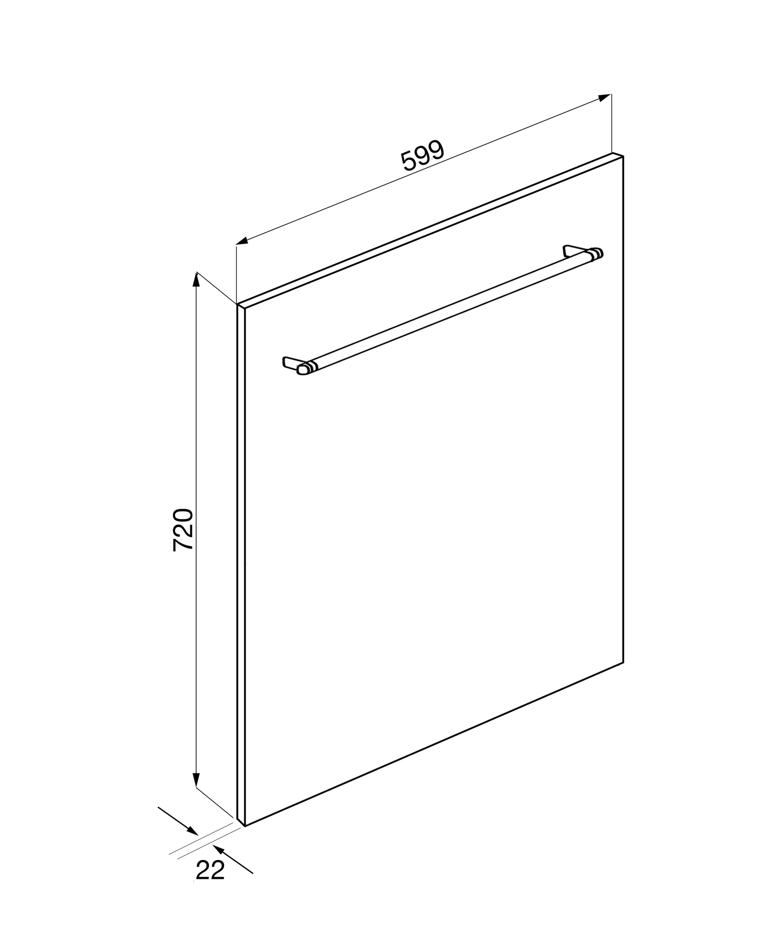 Maattekening SMEG voorzetdeur KIT6CXF