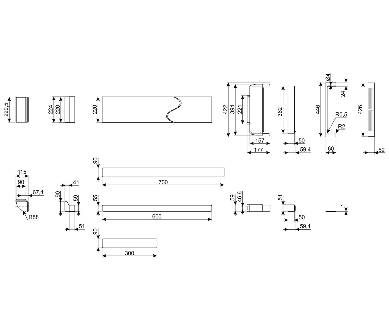 Maattekening SMEG recirculatie startset KITF6HOBD