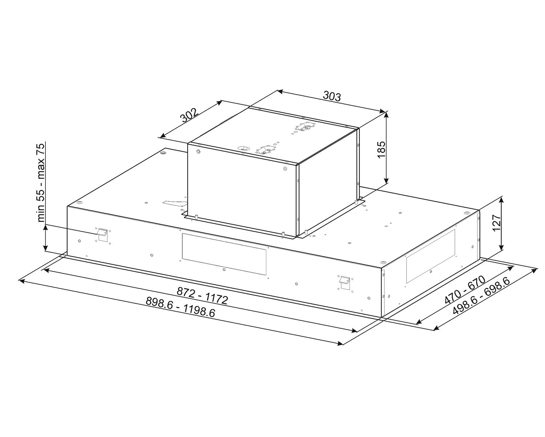Maattekening SMEG afzuigkap plafond KSEG90VXNE-2