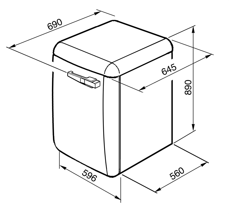 Maattekening SMEG wasmachine wit LBB14WH-2