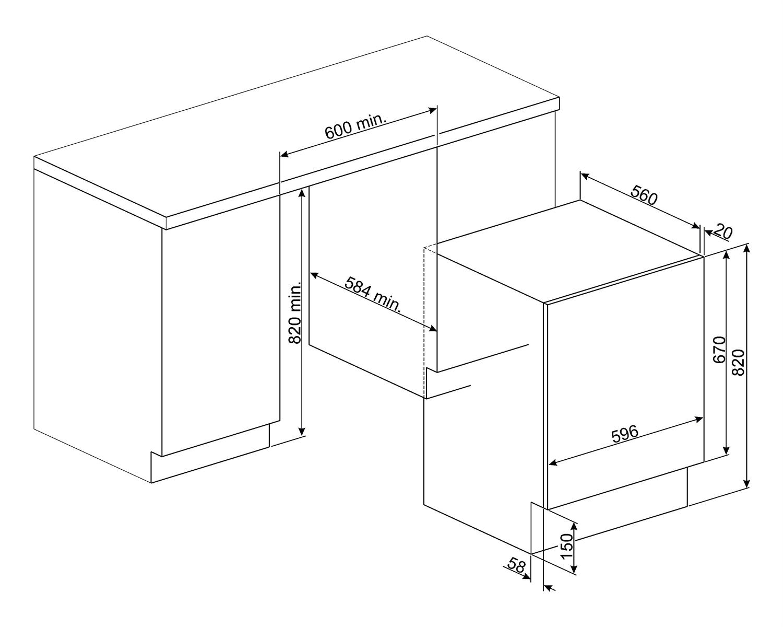 Maattekening SMEG wasmachine inbouw LST147-2