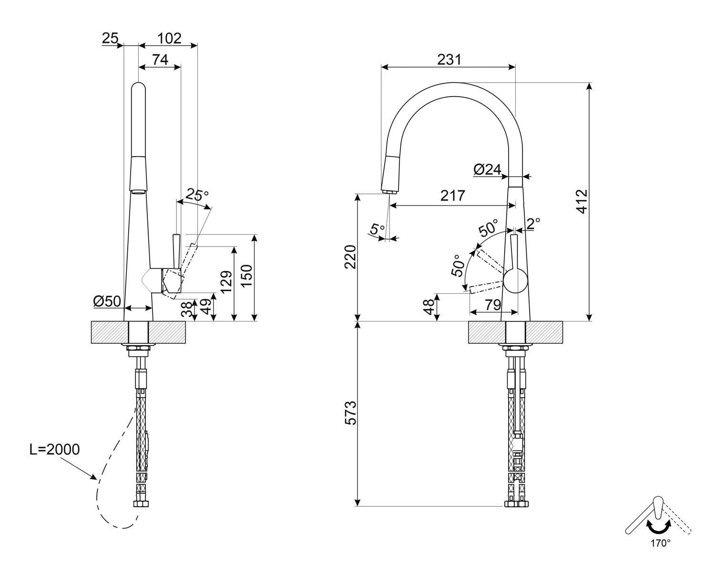 Maattekening SMEG keukenkraan chroom MD14CR