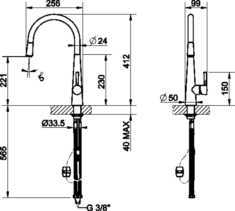 Maattekening SMEG keukenkraan nikkel MD14IS2