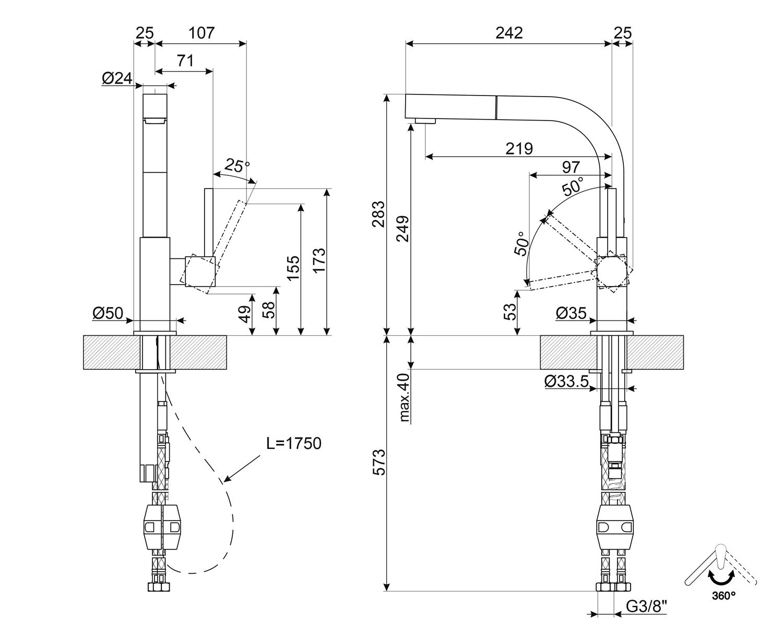 Maattekening SMEG keukenkraan chroom MDQ5-CSP
