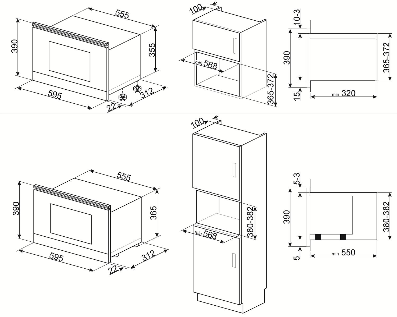 Maattekening SMEG magnetron met grill inbouw MP122B1