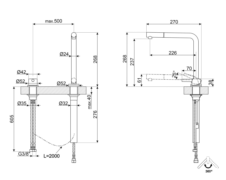 Maattekening SMEG keukenkraan inbouw MTD5CR