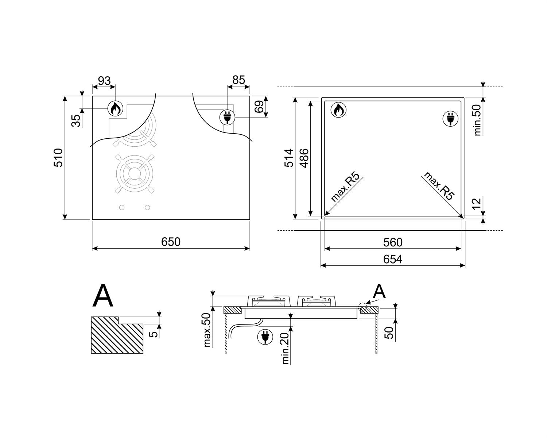 Maattekening SMEG kookplaat inductie inbouw PM3621WLDNLK