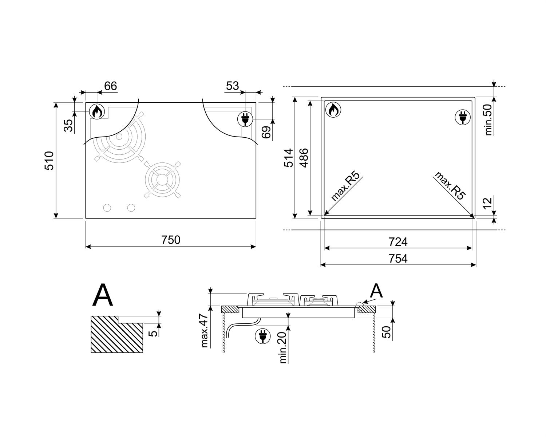Maattekening SMEG kookplaat gas/inductie inbouw PM3721WLDNLK