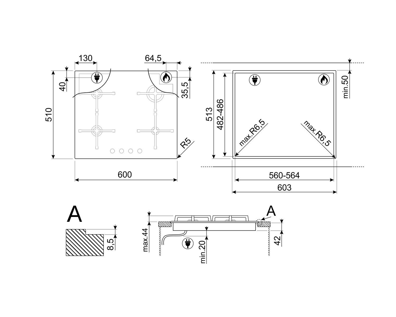 Maattekening SMEG kookplaat inbouw PV264NNLK-S