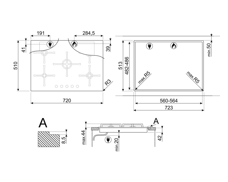 Maattekening SMEG kookplaat inbouw PV275NNLK-S