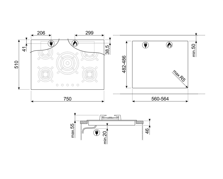 Maattekening SMEG kookplaat inbouw PV375CNNLK