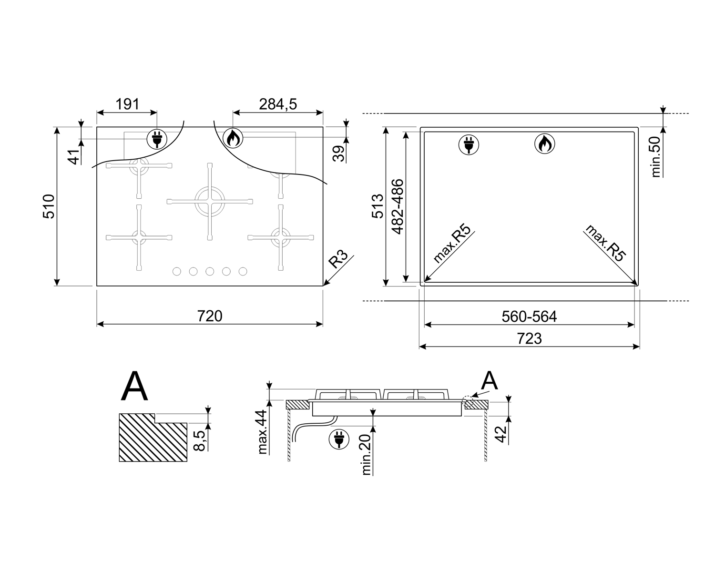 Maattekening SMEG kookplaat inbouw PV375NNLK-CL