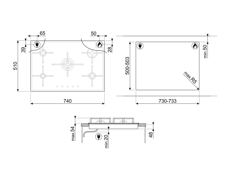 Maattekening SMEG kookplaat inbouw PX7502NLK