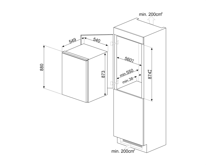 Maattekening SMEG koelkast inbouw S4C092F