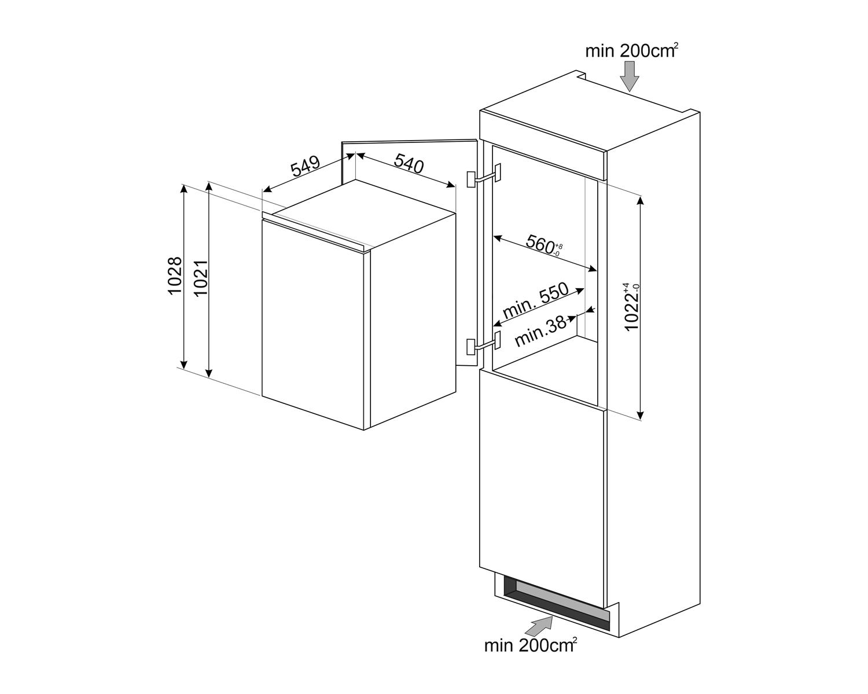 Maattekening SMEG koelkast inbouw S4C102F