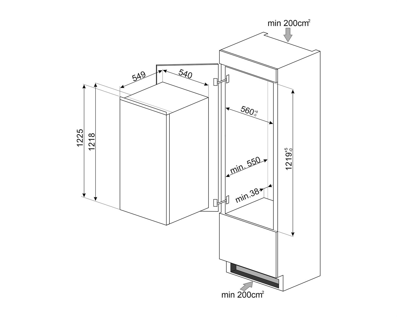 Maattekening SMEG koelkast inbouw S4C122F