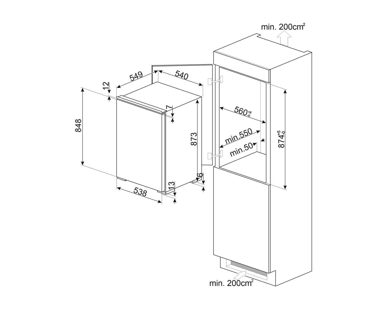 Maattekening SMEG vrieskast inbouw S4F094E