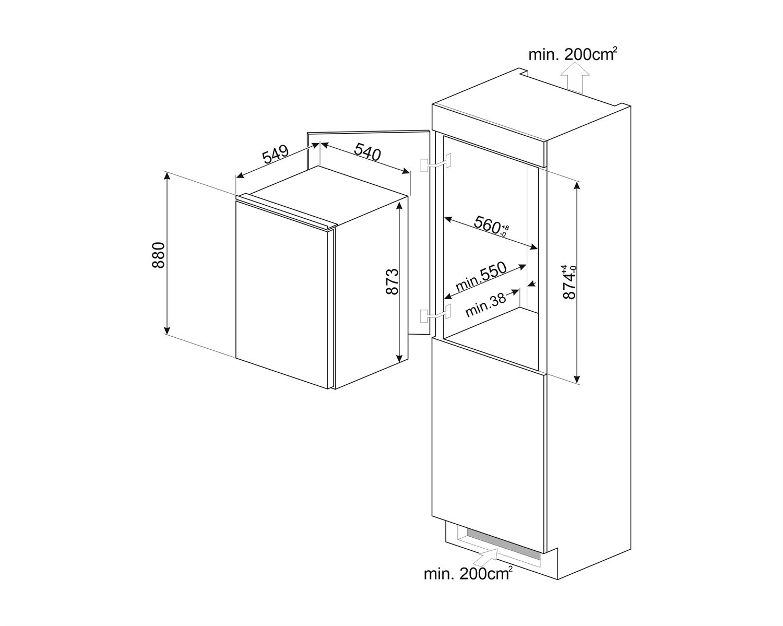 Maattekening SMEG koelkast inbouw S4L090F