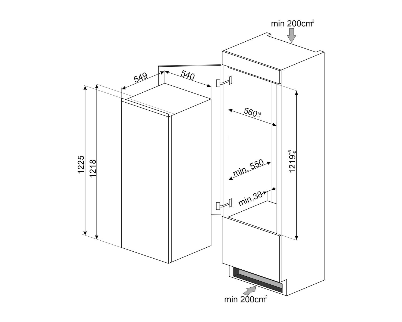 Maattekening SMEG koelkast inbouw S4L120F