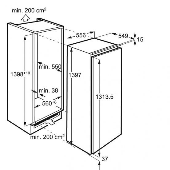 Maattekening SMEG koelkast inbouw S7C148DF2P1